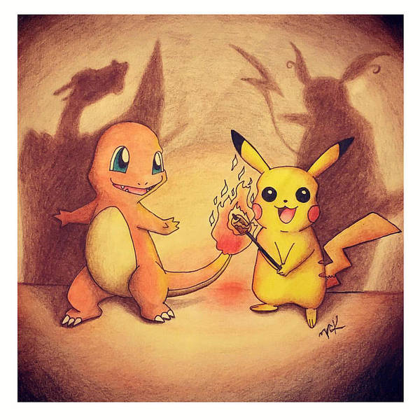 Pokemon Drawing - Friendly Rivals by Victoria Kelley