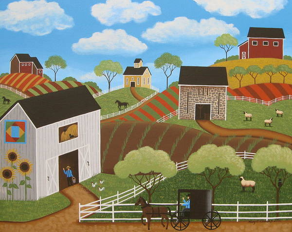Amish Wall Art - Painting - Friends And Neighbors by Mary Charles