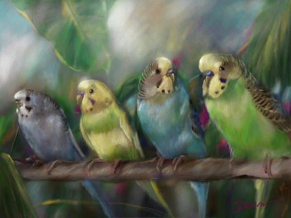 Wall Art - Painting - Friends by Mary Sparrow