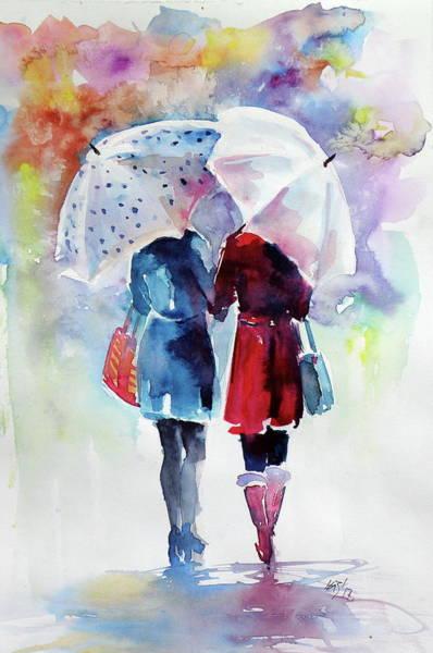 Winter Walk Painting - Friends - Perfect Gift Idea by Kovacs Anna Brigitta