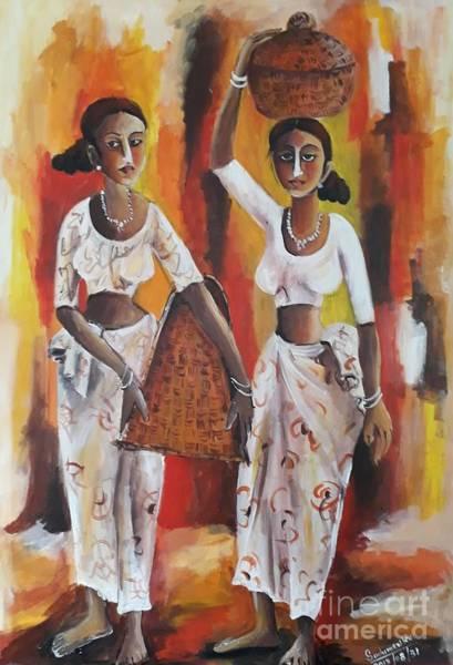 Wall Art - Pastel - Friends by Sudumenike Wijesooriya