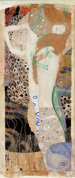 Wall Art - Painting - Friends, Water Serpants by Gustav Klimt