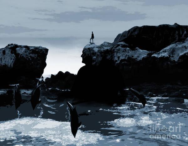 Digital Art - Friends With Dolphins by Lance Sheridan-Peel
