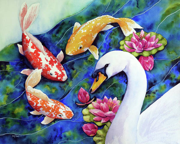 Wall Art - Painting - Friends With Swan by Susy Soulies