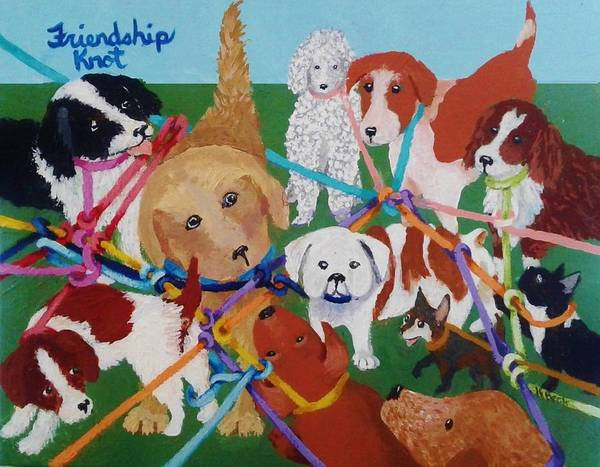 Leash Painting - Friendship Knot by Katherine Young-Beck