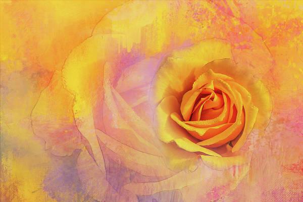 Wall Art - Digital Art - Friendship Rose Textured by Terry Davis