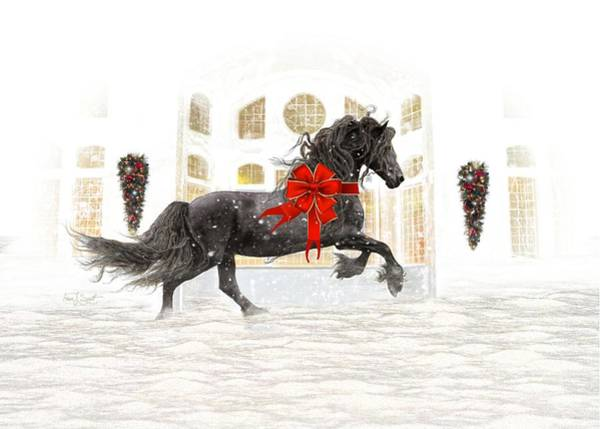 Friesian Horse Photograph - Friesian Christmas by Fran J Scott