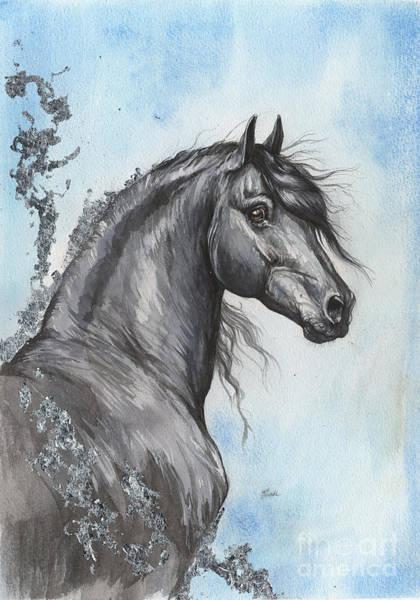 Wall Art - Painting - Friesian Horse 2016 03 12 by Angel Ciesniarska
