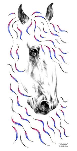 Drawing - Friesian Horse Nobility by Kelli Swan