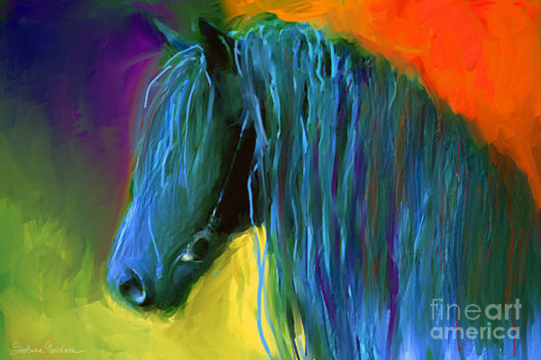Painting - Friesian Horse Painting 2 by Svetlana Novikova