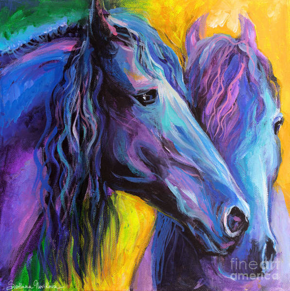 Pastel Drawing Painting - Friesian Horses Painting by Svetlana Novikova