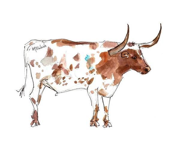 Painting - Friesien A Texas Longhorn Lh035 by Kathleen McElwaine