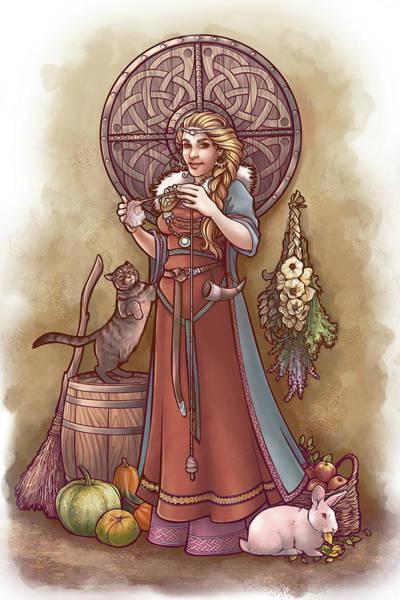 Celtic Mythology Wall Art - Digital Art - Frige And Her Drop Spindle by Dani Kaulakis