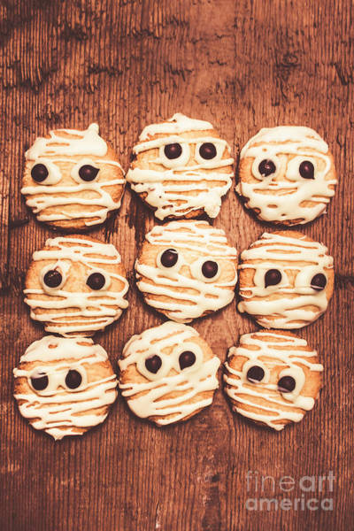Sweets Wall Art - Photograph - Frightened Mummy Baked Biscuits by Jorgo Photography - Wall Art Gallery