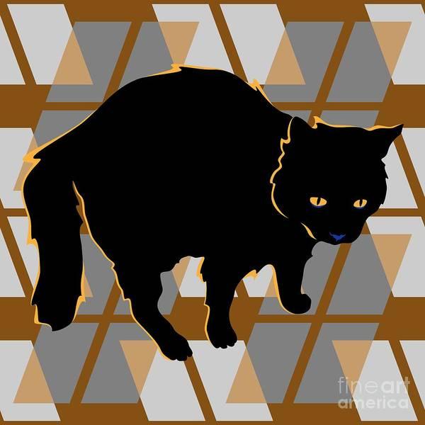 Digital Art - Frightful Black Halloween Cat by MM Anderson