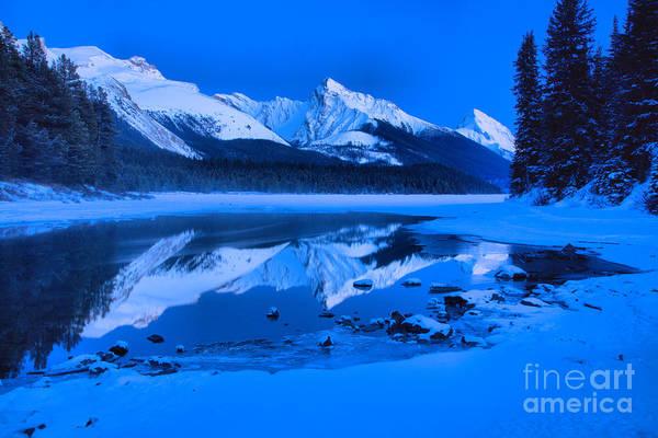 Photograph - Frigid Winter Evening At Maligne Lake by Adam Jewell
