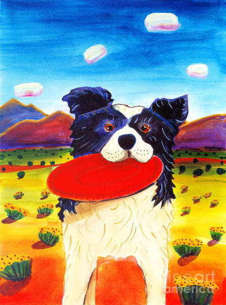 Border Collie Painting - Frisbee Dog by Harriet Peck Taylor