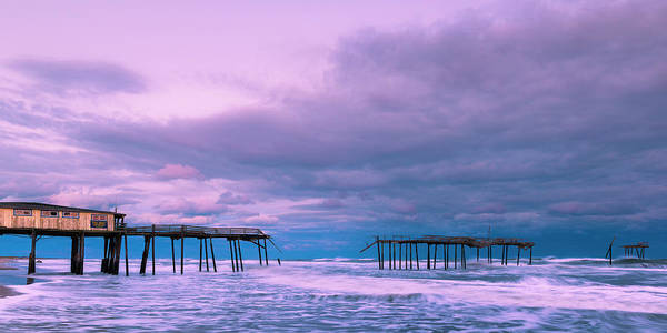 Art Print featuring the photograph Frisco Fishing Pier And Clouds Panorama by Ranjay Mitra