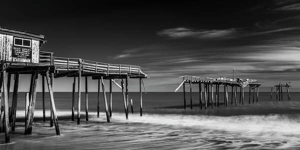 Art Print featuring the photograph Frisco Fishing Pier In Black And White Panorama by Ranjay Mitra
