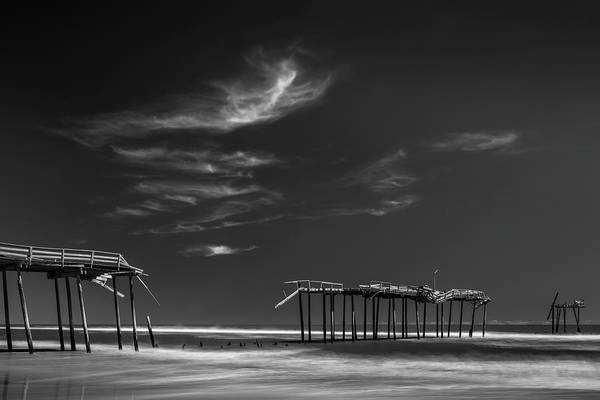 Photograph - Frisco Fishing Pier In Black And White by Ranjay Mitra