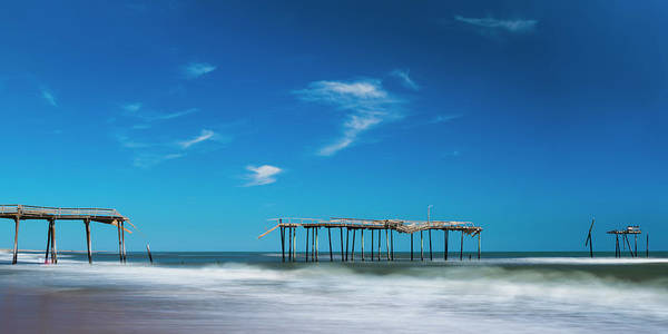 Art Print featuring the photograph Frisco Fishing Pier In North Carolina Panorama by Ranjay Mitra