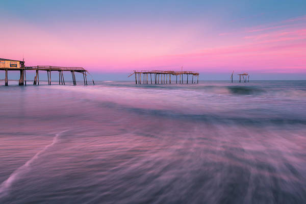 Photograph - Frisco Pier And Atlantic Beach Waves At Sunset by Ranjay Mitra