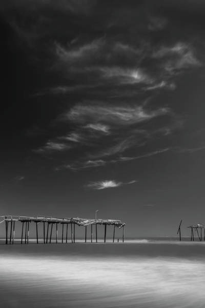 Art Print featuring the photograph Frisco Pier In North Carolina And Clouds In Black And White by Ranjay Mitra