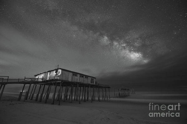 Wall Art - Photograph - Frisco Pier Under The Milky Way Bw by Michael Ver Sprill