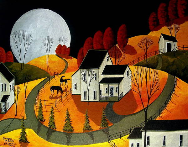 Naive Wall Art - Painting - Frisky Autumn Eve - A Folkartmama - Folk Art by Debbie Criswell