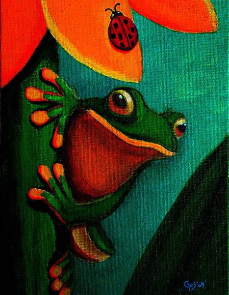 Lady Bug Wall Art - Painting - Frog And Ladybug by Nick Gustafson