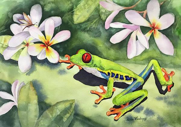 Painting - Frog And Plumerias by Hilda Vandergriff