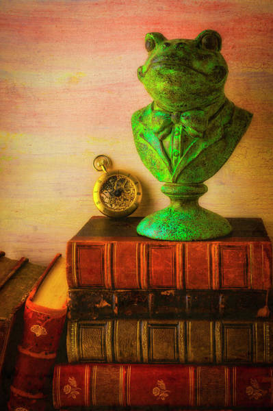 Wall Art - Photograph - Frog Bust On Old Books by Garry Gay