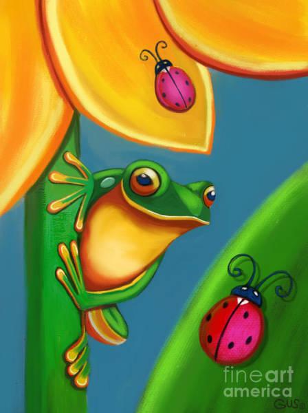 Wall Art - Digital Art - Frog Ladybugs And Flower by Nick Gustafson