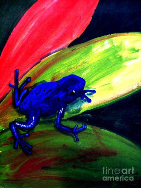 Wall Art - Painting - Frog On Leaf by Michael Grubb