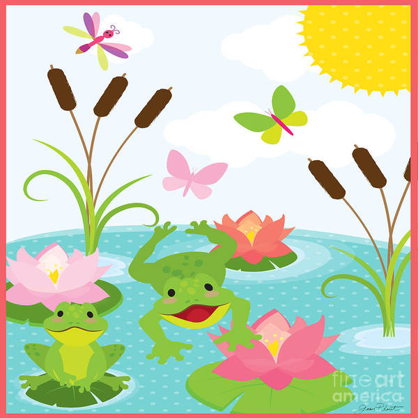 Lilly Pad Wall Art - Painting - Frog Pond-jp2984 by Jean Plout