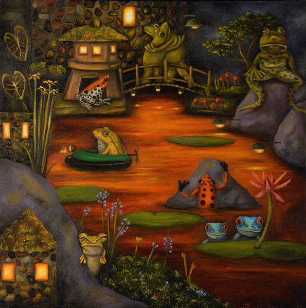 Lilly Pad Painting - Frogland 2 by Leah Saulnier The Painting Maniac