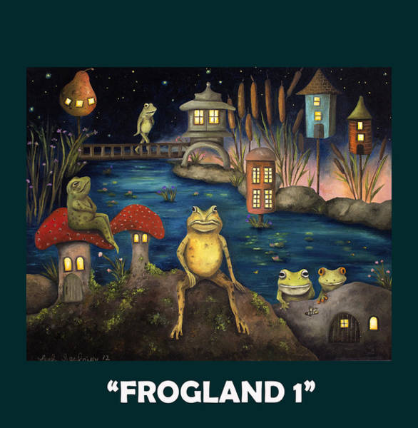 Painting - Frogland With Lettering by Leah Saulnier The Painting Maniac