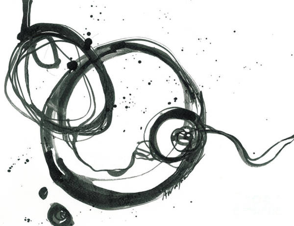 Painting - From Beginning To End - Revolving Life Collection - Modern Abstract Black Ink Artwork by Patricia Awapara