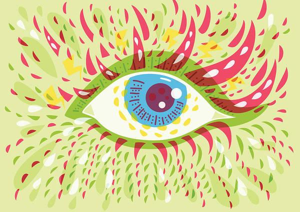 Eyeball Digital Art - From Looking Psychedelic Eye by Boriana Giormova