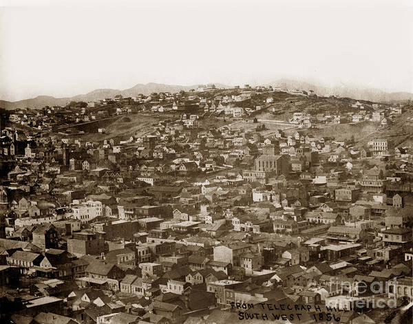 Photograph - From Telegraph Hill South West San Francisco 1856 by California Views Archives Mr Pat Hathaway Archives
