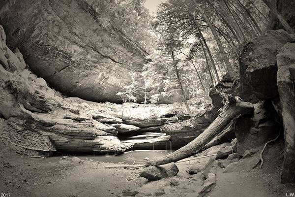 Photograph -  From The Bottom Of Old Man's Cave Black And White by Lisa Wooten