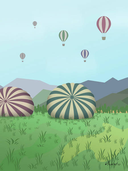 Balloon Festival Digital Art - From The Heights by Absentis Designs