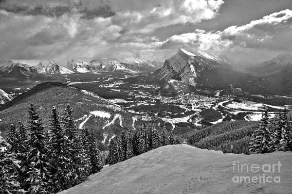 Photograph - From The Norquay Slopes To The Peak Of Rundle Black And White by Adam Jewell