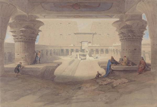 Portico Painting - From Under The Portico Of The Temple Of Edfu, Upper Egypt By David Roberts, 1846 by Celestial Images