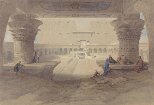 Portico Painting - From Under The Portico Of The Temple Of Edfu, Upper Egypt by David Roberts