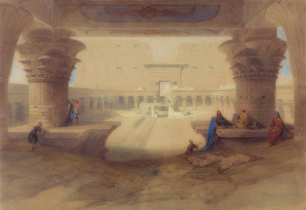 Portico Painting - From Under The Portico Of The Temple Of Edu, Upper Egypt by David Roberts