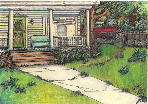 Homestead Drawing - Front Porch Homestead by April Mains