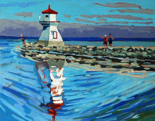 Lake Huron Painting - Front Range Light by Phil Chadwick