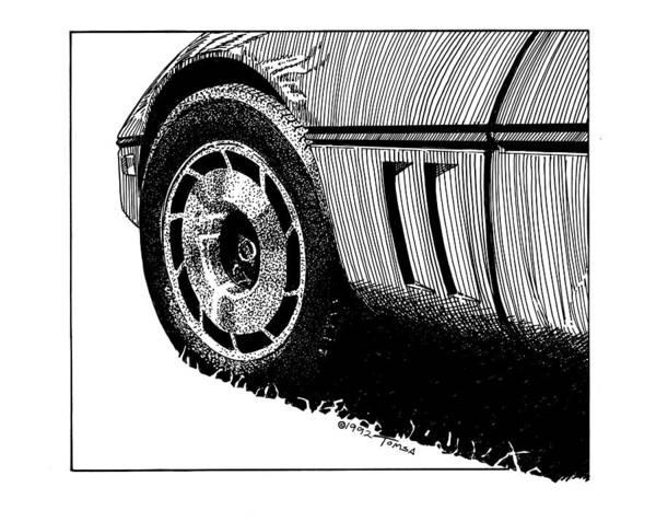 American Car Drawing - Front Wheel Study - Art By Bill Tomsa by Bill Tomsa