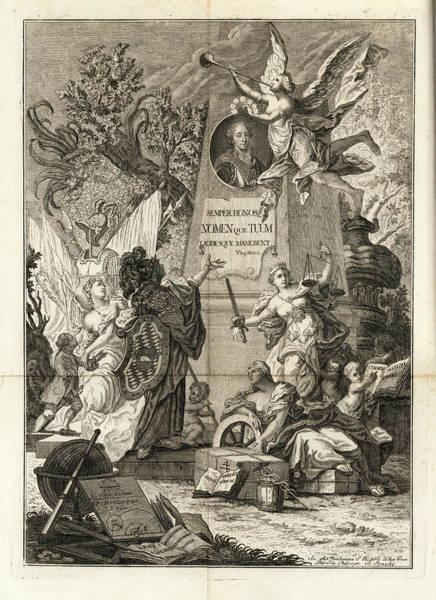 Drawing - Frontis To Tractatio De Theoria Descensus Et Ascensus Gravium Obliqui Ejusque Multiplici Application by Joseph Anton Zimermann